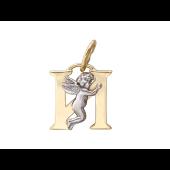 Буква И с ангелом, желтое и белое золото