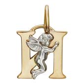 Буква И с ангелом, красное и белое золото