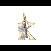 Буква К с ангелом, желтое и белое золото