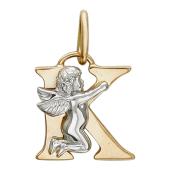 Буква К с ангелом, красное и белое золото