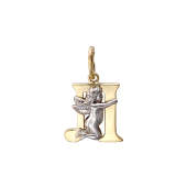 Буква Л с ангелом, желтое и белое золото