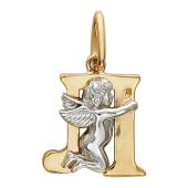 Буква Л с ангелом, красное и белое золото