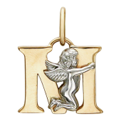 """Подвеска буква """"М"""" с ангелом, красное и белое золото пробы 585"""