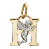"""Подвеска буква """"Н"""" с ангелом, красное золото пробы 585"""