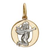 """Подвеска буква """"О"""" с ангелом, красное и белое золото пробы 585"""