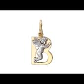 """Буква """"В"""" с ангелом, желтое и белое золото"""
