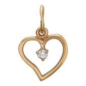 Кулон Сердце, сверху капля фианита, красное золото, 585 проба