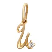 Буква И с одним фианитом, красное золото