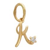 Буква К с фианитом, красное золото