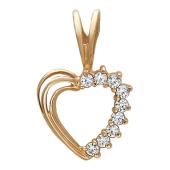 Кулон Сердце, одна сторона с фианитами, красное золото, 585 пробы