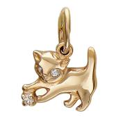 Кулон Кошка играет с камнем, красное золото