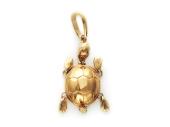 """Кулон """"Черепаха"""" фианит бесцветный, красное золото"""