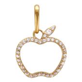 Кулон Яблоко, контур apple прозрачные фианиты, красное золото