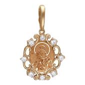 Владимирская в резном окладе с фианитами (8 шт.), красное золото, высота 14 мм