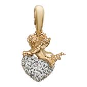 Кулон Сердце из фианитов с амуром (купидон), красное золото