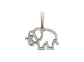 """Кулон """"Слон"""" контур из фианитов, красное золото, 585 проба"""
