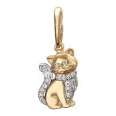 Кулон Котик - перс с манишкой из фианитов, красное золото