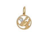 """Скорпион"" красное золото, 585 проба, фигура скорпиона в круге, на хвосте фианит"