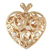 Кулон Горячее Сердце узор с фианитами, красное золото