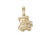 Кулон Мишка с букетом фианитов, красное золото