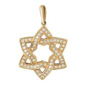 Кулон Звезда шестиконечная с фианитами, красное золото, 585 проба