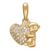 Кулон Мишка Тедди с сердцем, фианиты, красное золото