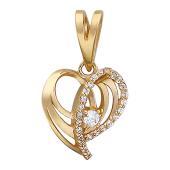 Кулон Сердце с фианитами, красное золото