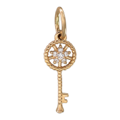 Кулон Ключик со звездой из фианитов, красное золото