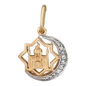 Кулон Полумесяц с Мечетью в восьмиугольнике, фианиты, красное золото