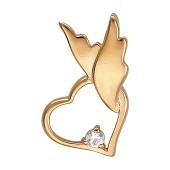 Кулон Сердце на крыльях ангела, фианит, красное золото h=14мм