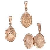Кулон-ладанка с изображением иконы Божьей Матери с фианитами, красное золото