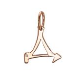 Подвеска буква Д с фианитом, красное золото