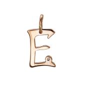 Кулон буква Е с фианитом, красное золото