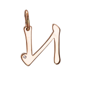 Кулон буква И с фианитом, красное золото