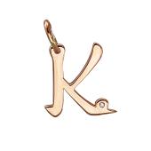 Кулон буква К с фианитом, красное золото