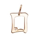 Кулон буква О с фианитом, красное золото