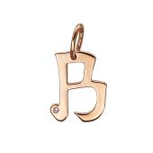 Подвеска буква В с фианитом, красное золото