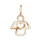 Подвеска Ангел с сердцем и фианитом, красное золото