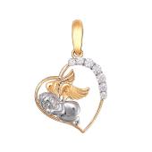 Подвеска Сердце с Ангелом и фианитами из красного золота 585 пробы