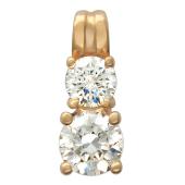 Золотой кулон, красное золото, прозрачные фианиты алмазной огранки