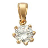 Золотой кулон, красное золото, прозрачный фианит алмазной огранки, восемь держателей