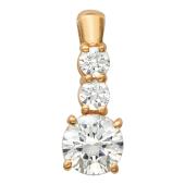 Золотой кулон, красное золото, прозрачные фианиты алмазной огранки, три вставки