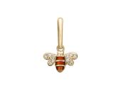 Кулон Пчела с эмалью и фианитами, красное золото 585 проба