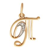 Буква Т с фианитами, красное золото 585 проба