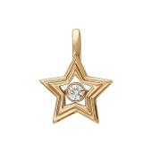Подвеска Звезда с танцующим фианитом, красное золото