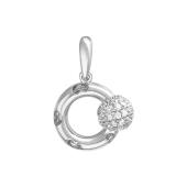 Подвеска Небо с вращающимся шариком с фианитами на круге с узором сердце, белое золото 585 проба