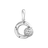 Подвеска Небо с вращающимся шариком с фианитами на круге с узором луна, белое золото 585 проба