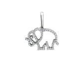 """Кулон """"Слон"""" контур из фианитов, белое золото, 585 проба"""