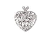 Кулон Сердце узор с фианитами, белое золото, 585 пробы