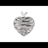 Кулон Горячее Сердце, волнистые полосы с фианитами, белое золото 585 пробы